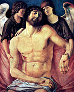 Religious Art Painting Framed Prints - Dead Christ Supported By Angels 1485 Giovanni Bellini Framed Print by Karon Melillo DeVega
