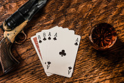 Wild Bill Hickok Photos - Dead Mans Hand a Gun and a Shot of Whiskey by Semmick Photo