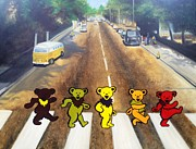 Band Painting Prints - Dead on Abbey Road Print by Jen Santa