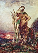 Half Man Paintings - Dead poet borne by centaur by Gustave Moreau
