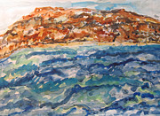 Waterscape Painting Posters - Dead Sea Reflections Poster by Esther Newman-Cohen