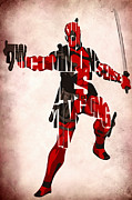 Mixed Media Drawing Prints - Deadpool Inspired Typographic Poster Print by Ayse Toyran