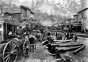 Old Wagons Framed Prints - DEADWOOD SOUTH DAKOTA around 1876 Framed Print by Daniel Hagerman