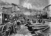 Old Wagons Posters - DEADWOOD SOUTH DAKOTA c. 1876 Poster by Daniel Hagerman