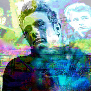James Dean Mixed Media Posters - Deanscape 2 Poster by Leah Devora
