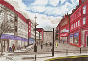 Red Buildings Drawings Framed Prints - Deansgate Bolton quick sketch Framed Print by Paul Hill