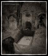 Headstones Digital Art Prints - Death Becomes Her Print by Kristie  Bonnewell