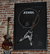 Autographed Framed Prints - Death by Stereo Band Memorabilia-Autographed Guitar Framed Print by Renee Anderson