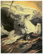 William Blake Paintings - Death on a Pale Horse by William Blake