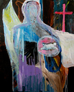 Religious Artwork Painting Originals - Death on the pure plain by Anne  Kare