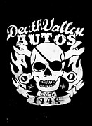 Chrome Skull Prints - Death Valley Autos Print by Phil 