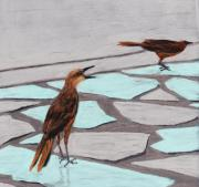 Cards Pastels Originals - Death Valley Birds by Anastasiya Malakhova