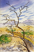 Sketchbook Painting Prints - Death Valley- California Sketchbook Project Print by Irina Sztukowski