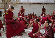 Conversing Prints - Debating Monks - Sera Monastery Lhasa Print by Craig Lovell
