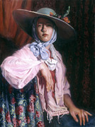Shawl Painting Originals - Deborah in a Big Hat by Ellen Brown