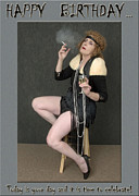 Women With Wine Prints - Decadent Flapper Birthday Greeting Card Print by Andrew Govan Dantzler