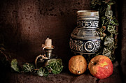 Food And Beverage Photo Originals - Decanter with candlestick and fruit by Hugo Bussen