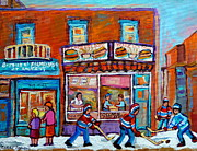 Hockey Paintings - Decarie Hot Dog Restaurant Ville St. Laurent Montreal  by Carole Spandau