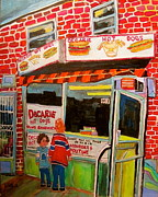 Hockey Fans Paintings - Decarie Hot Dogs Montreal by Michael Litvack