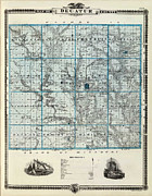 Vintage Map Digital Art Metal Prints - Decatur County Map Metal Print by Sanely Great