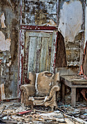 Cabin Window Framed Prints - Decayed chair in Randsberg Framed Print by Kim M Smith