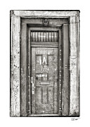 French Door Prints - Decaying Beauty in Black and White Print by Brenda Bryant
