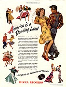 Nineteen-forties Framed Prints - Decca Records 1940s Usa  Dancing Framed Print by The Advertising Archives