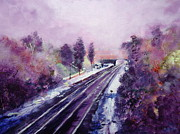 Abstract Wildlife Paintings - December at Belper Train Station by Ruth Gray