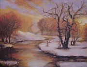 Christmas Card Originals - December Evening by Marcia Johnson