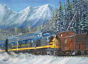 Railroad Paintings - December on Stampede Pass by Christopher Jenkins