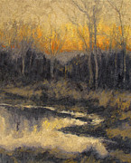 Bucolic Scenes Painting Prints - December Reflection Print by Gregory Arnett