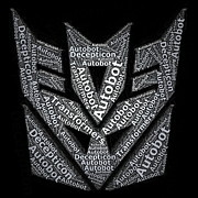 Paul Van Scott Framed Prints - Decepticon Word Mosaic Framed Print by Paul Van Scott