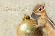 Squirrel Digital Art Metal Prints - Deck the Halls Metal Print by Lori Deiter
