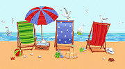 Deckchairs Print by Peter Adderley