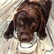 Chocolate Lab Framed Prints - Deckhand Framed Print by Molly Poole