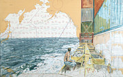 Nautical Chart Prints - Deckwork at Sea Print by Martin  Machado