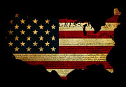 Declaration Of Independence Grunge America Map Flag Print by Matthew Gibson