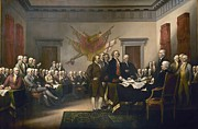 Founding Fathers Painting Metal Prints - Declaration of Independence Metal Print by Pg Reproductions