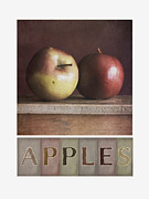 Yellow Apples Posters - Deco Apples Poster by Priska Wettstein