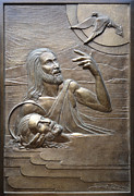 Bronze Reliefs Framed Prints - Deco Baptism Framed Print by Jeremiah Welsh