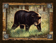 Cabin Metal Prints - Deco Black Bear Metal Print by JQ Licensing