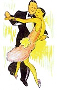 Nightclub Drawings Posters - Deco Dancers Poster by Mel Thompson