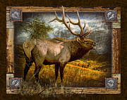 Elk Framed Prints - Deco Elk Framed Print by JQ Licensing