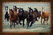 Domesticated Animal Framed Prints - Deco Horses Framed Print by JQ Licensing