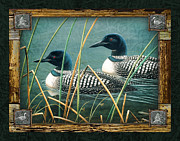 Loon Framed Prints - Deco Loons Framed Print by JQ Licensing