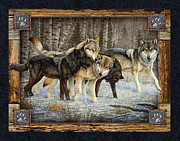 Howling Framed Prints - Deco Wolves Framed Print by JQ Licensing