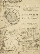 Exploration Drawings Metal Prints - Decomposition of circle into bisangles from Atlantic Codex  Metal Print by Leonardo Da Vinci