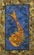 Quilts Tapestries - Textiles - Deconstructed Fish by Lynda K Boardman