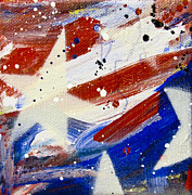Abstract American Flag Paintings - Deconstructed Flag III by Mary Gallagher-Stout