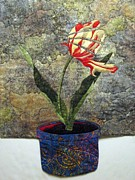 Art Quilts Tapestries Textiles Posters - Deconstructed Tulip Poster by Lynda K Boardman
